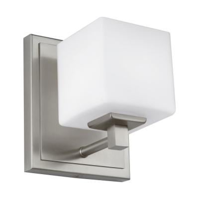 Sutton 5.75 in. Satin Nickel Sconce with Opal Etched Glass Shade