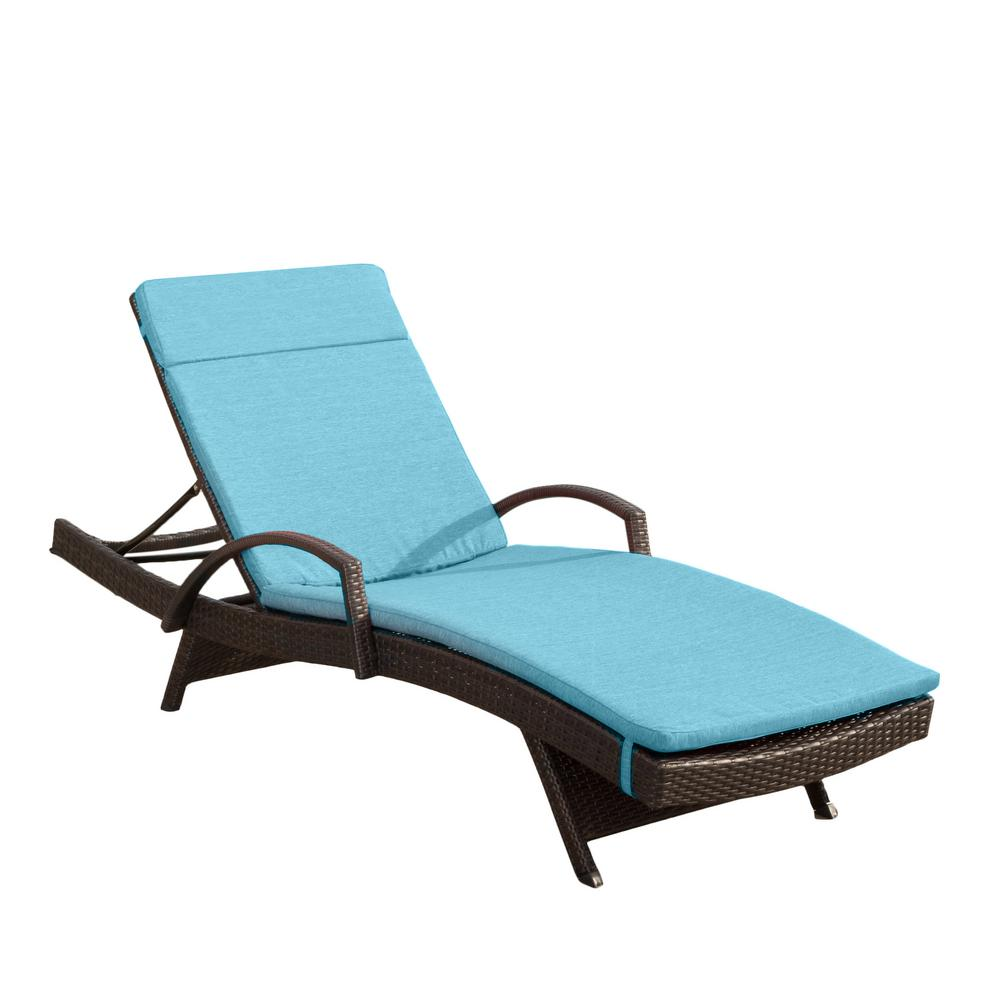 Salem Multi Brown 4-Piece Wicker Outdoor Chaise Lounge with Blue Cushions