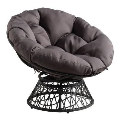 Papasan Chair with Grey Round Pillow-Top Cushion and Grey frame