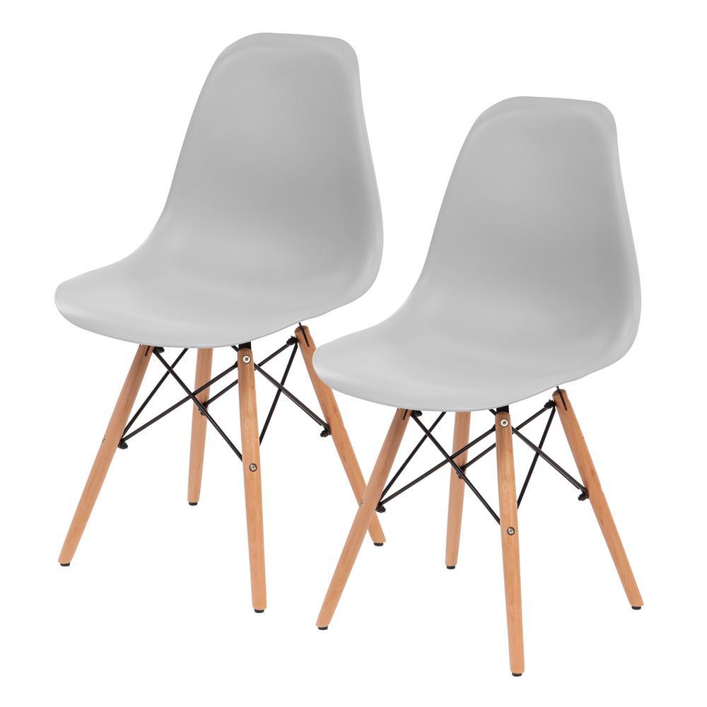 IRIS Gray Plastic Shell Chair (Set Of 2)