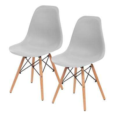 Gray Plastic Shell Chair (Set of 2)