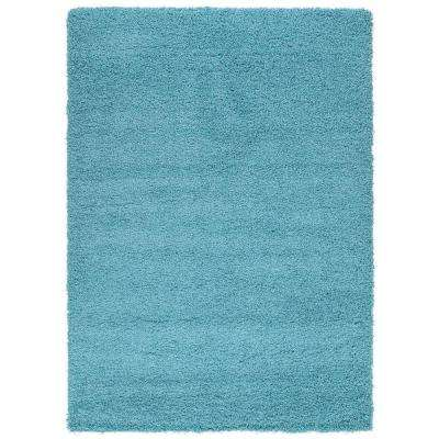 Cozy Shag Collection Turquoise 5 ft. x 7 ft. Indoor Area Rug