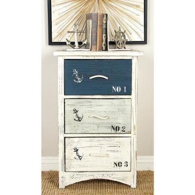 Nautical 3-Drawer Wooden Chest