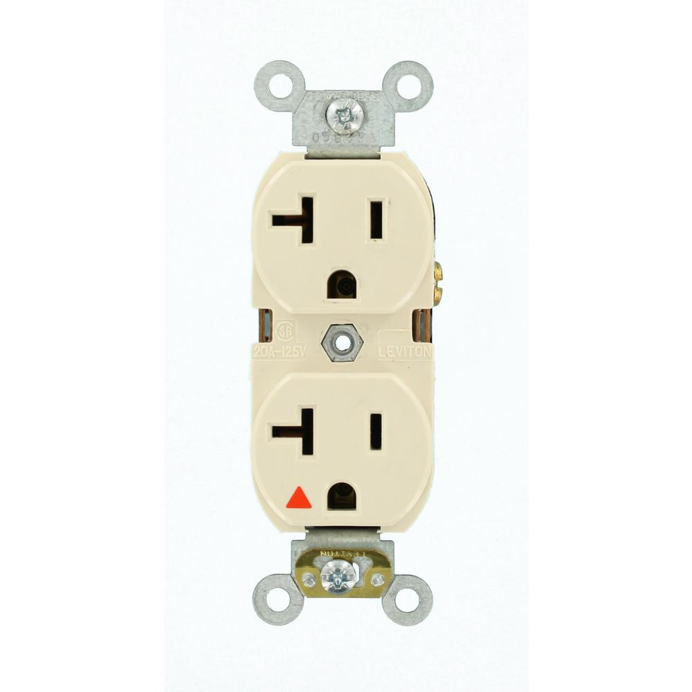 20 Amp Industrial Grade Heavy Duty Isolated Ground Duplex Outlet, Light