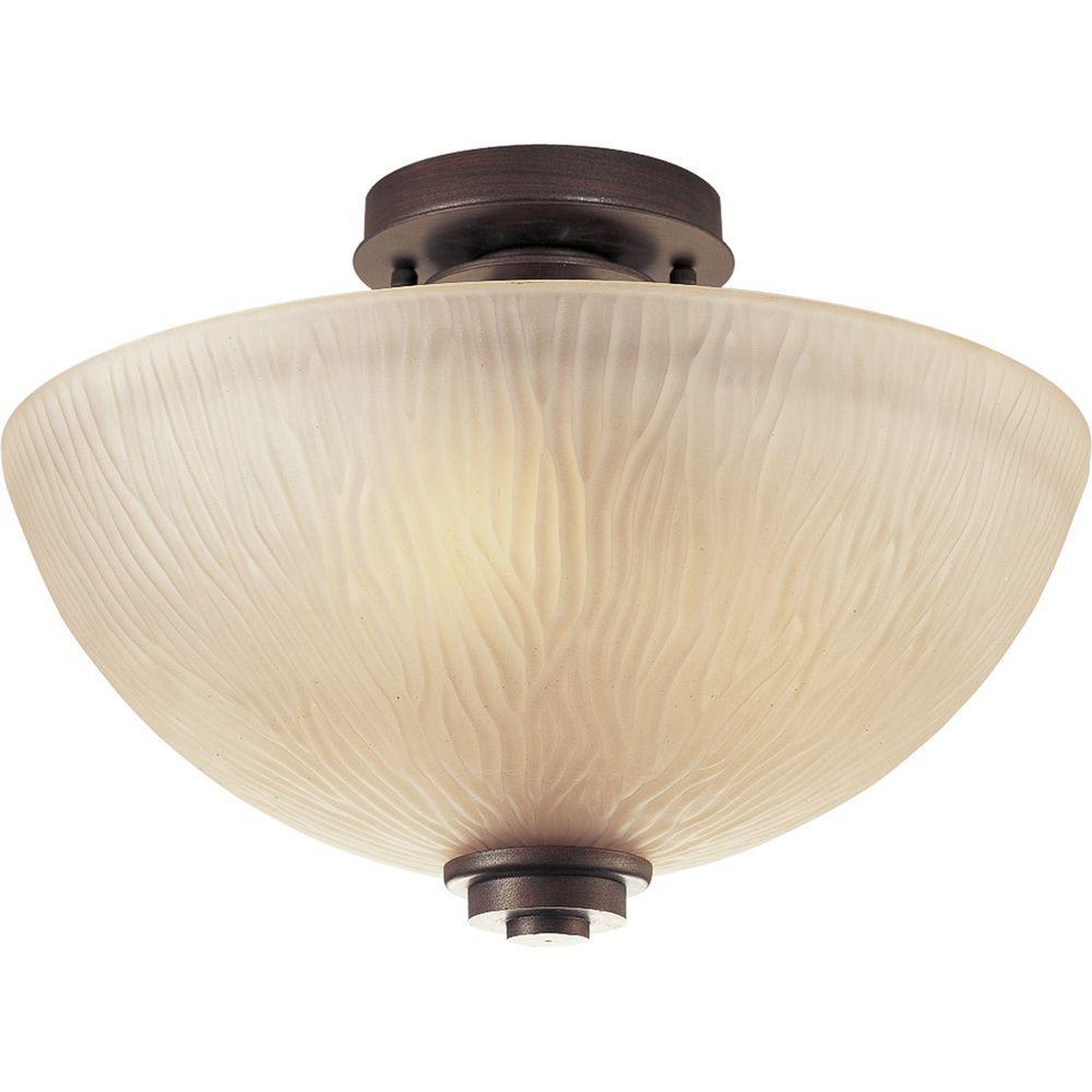 Progress Lighting Riverside Collection 3 Light Heirloom Semi Flushmount P3525 88 The Home Depot