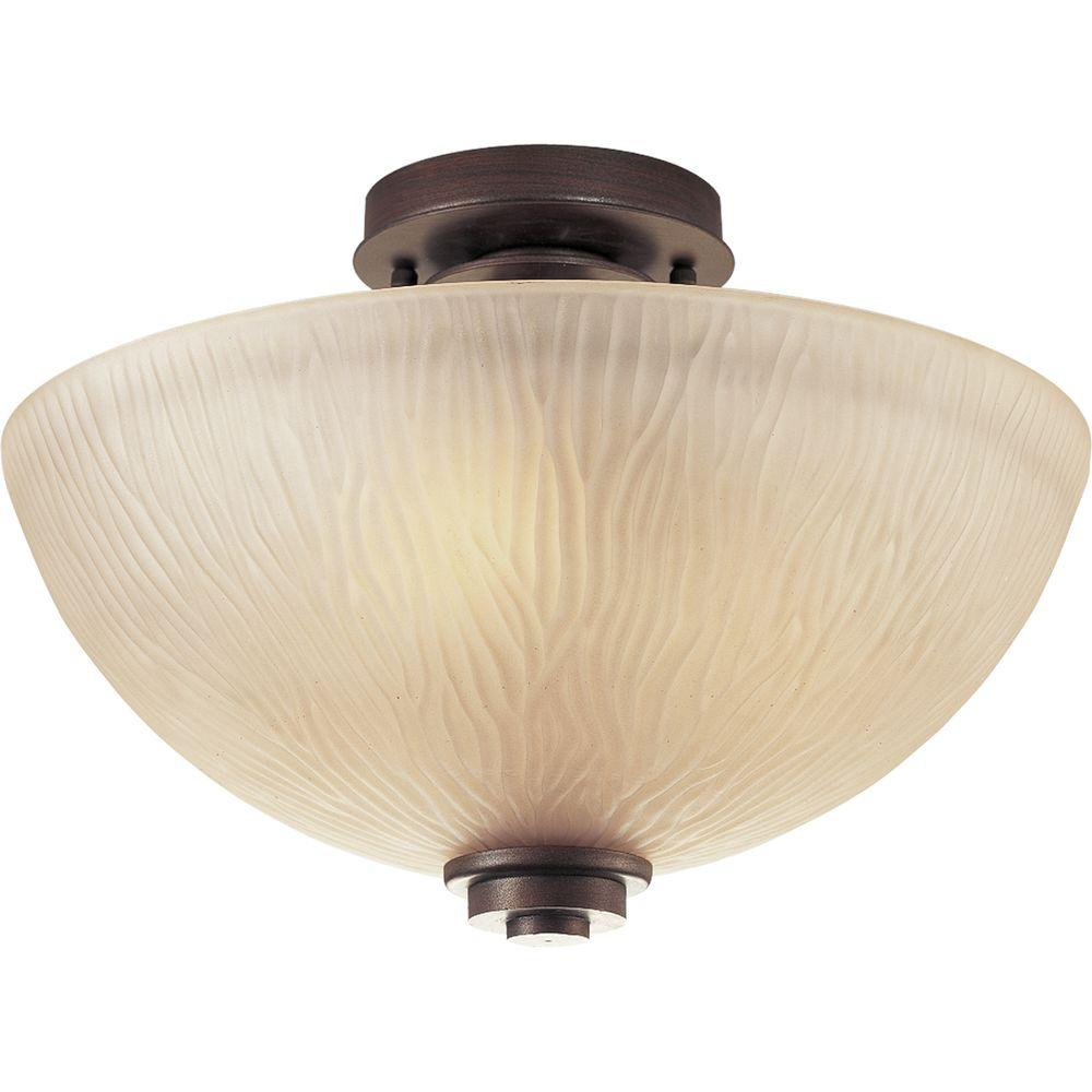 Progress Lighting Riverside Collection 3-Light Heirloom Semi-Flush Mount Light