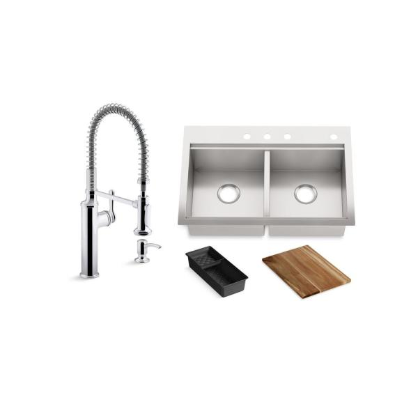 Lyric Workstation 33 in. Dual Mount Stainless Steel Double Bowl Kitchen Sink with Sous Semi Pro Kitchen Faucet