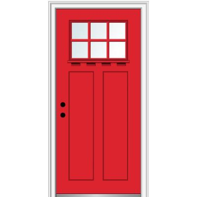 36 in. x 80 in. Clear LowE Glass 6 Lite Red Saffron Shaker with Shelf Painted Fiberglass Smooth Prehung Front Door