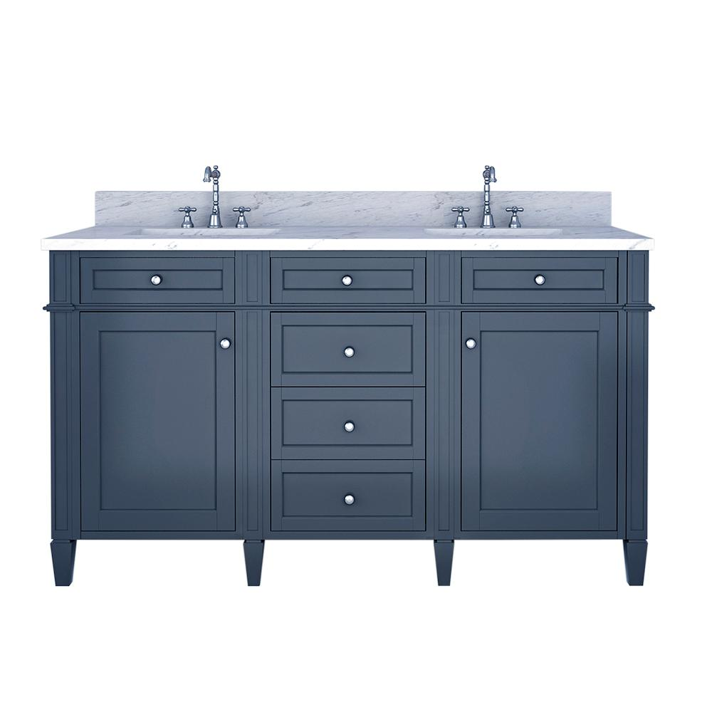 Birmingham 60 in. W x 34 in. H Bath Vanity in Gray with Marble Vanity Top in White with White Basin