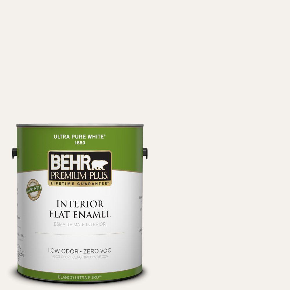 BEHR Premium Plus 1-gal. #W-B-200 Popped Corn Zero VOC Flat Enamel Interior Paint-DISCONTINUED