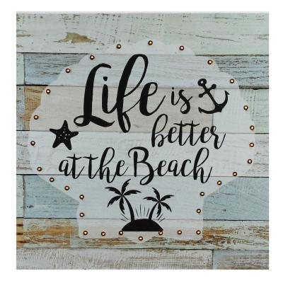 12 in. x 12 in. Battery Operated LED Lighted Beach Wall Art Plaque