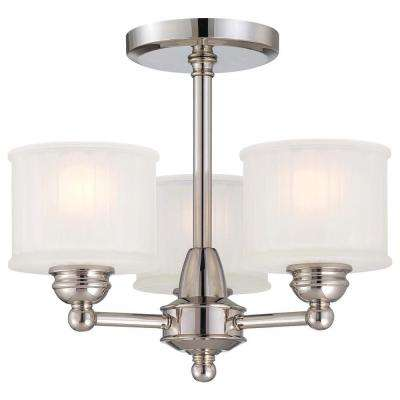 1730 Series 3-Light Polished Nickel Semi-Flushmount