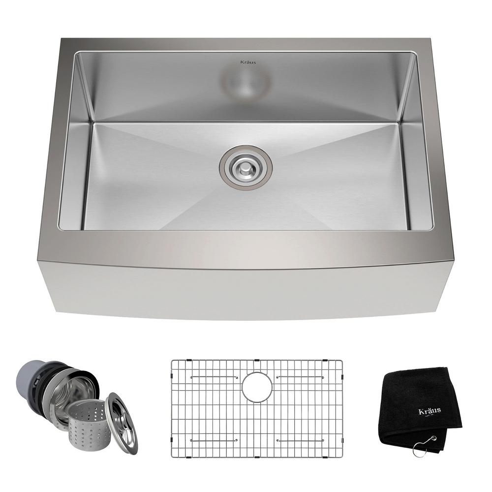 KRAUS Farmhouse Apron Front Stainless Steel 30 In. Single Bowl Kitchen Sink  Kit KHF200 30   The Home Depot