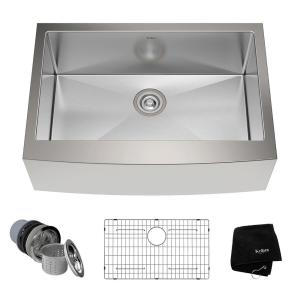 Kraus Farmhouse Apron Front Stainless Steel 30 inch Single Bowl Kitchen Sink Kit by KRAUS