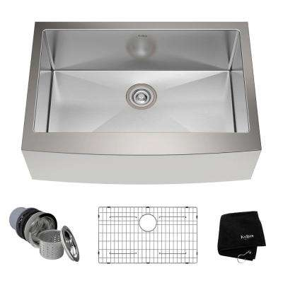 Farmhouse Apron Front Stainless Steel 30 in. Single Basin Kitchen Sink Kit