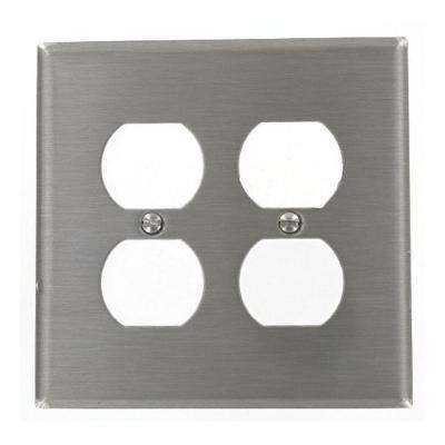 2-Gang 2 Duplex Receptacles, Midway Size Wall Plate - Stainless Steel