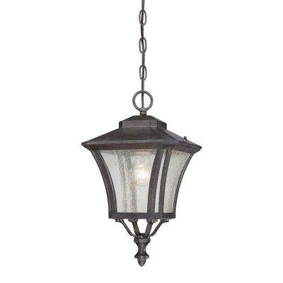 Tuscan Collection 1-Light Black Coral Outdoor Hanging Lantern