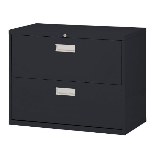 600 Series 28.375 in. H x 36 in. W x 19 in. D 2-Drawer Lateral File Cabinet in Black