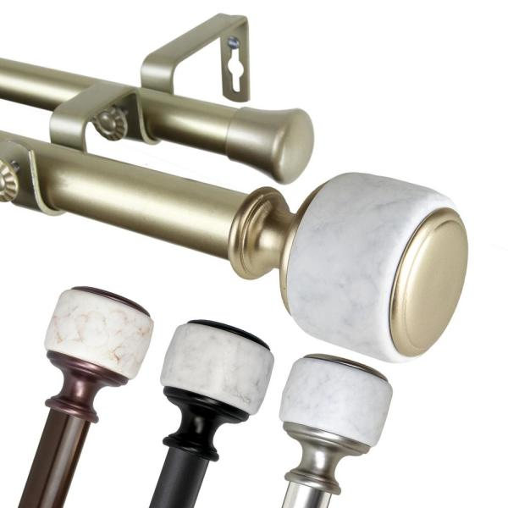 1 Inch Dia 120-170'' Adjustable Crutch Double Curtain Rod in Satin Nickel