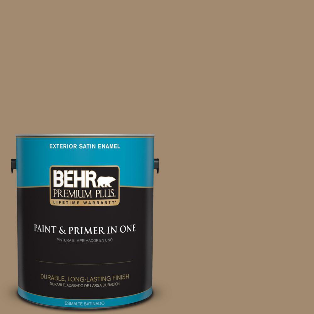 BEHR Premium Plus 1-gal. #PMD-102 River Mud Satin Enamel Exterior Paint