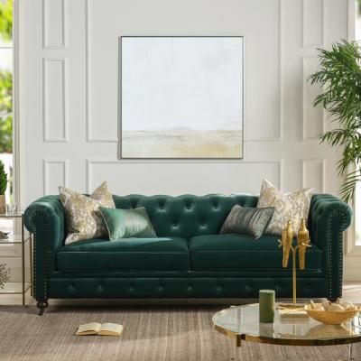 Winston 38 in. Forest Green Velvet 3-Seater Chesterfield Sofa with Nailheads