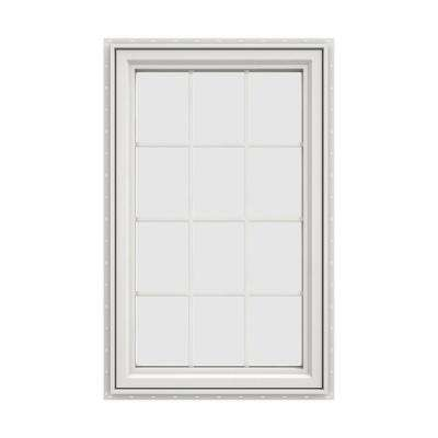 35.5 in. x 47.5 in. V-4500 Series White Vinyl Left-Handed Casement Window with Colonial Grids/Grilles