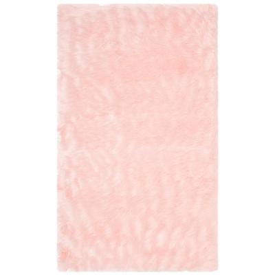 Faux Sheep Skin Pink 2 ft. x 3 ft. Area Rug