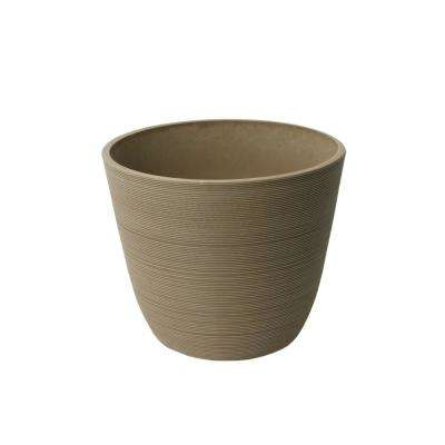 Valencia 11 in. x 14 in. Round Curve Ribbed Taupe Plastic Planter