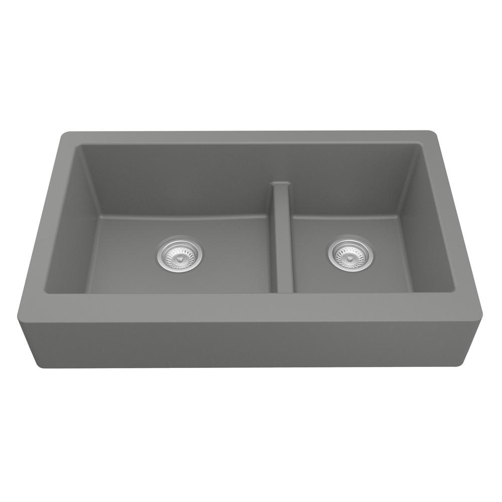Karran Retrofit Farmhouse/Apron-Front Quartz Composite 34 in. Double Offset Bowl Kitchen Sink in Grey
