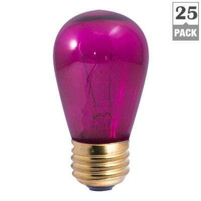 11-Watt S14 Transparent Pink Dimmable Incandescent Light Bulb (25-Pack)