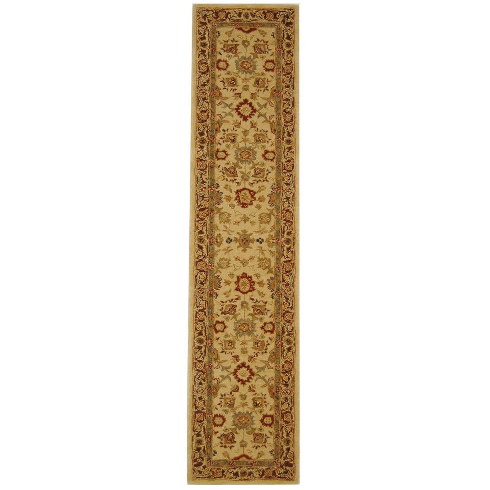 Anatolia Ivory/Brown 2 ft. 3 in. x 16 ft. Runner