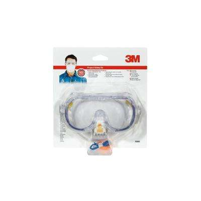 Professional Safety Kit with Valve (1-Respirator 1-Pair of Earplugs 1-Pair of Safety Goggles)