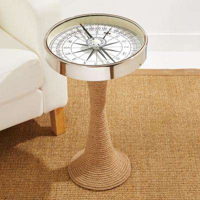 Working Compass Accent Decorative Table with Rope Base
