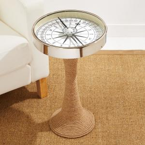 Two's Company Working Compass Accent Decorative Table with Rope Base by Two's Company