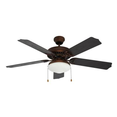 Woodrow 52 in. Indoor/Outdoor Rubbed Oil Bronze Ceiling Fan with Light Kit Included
