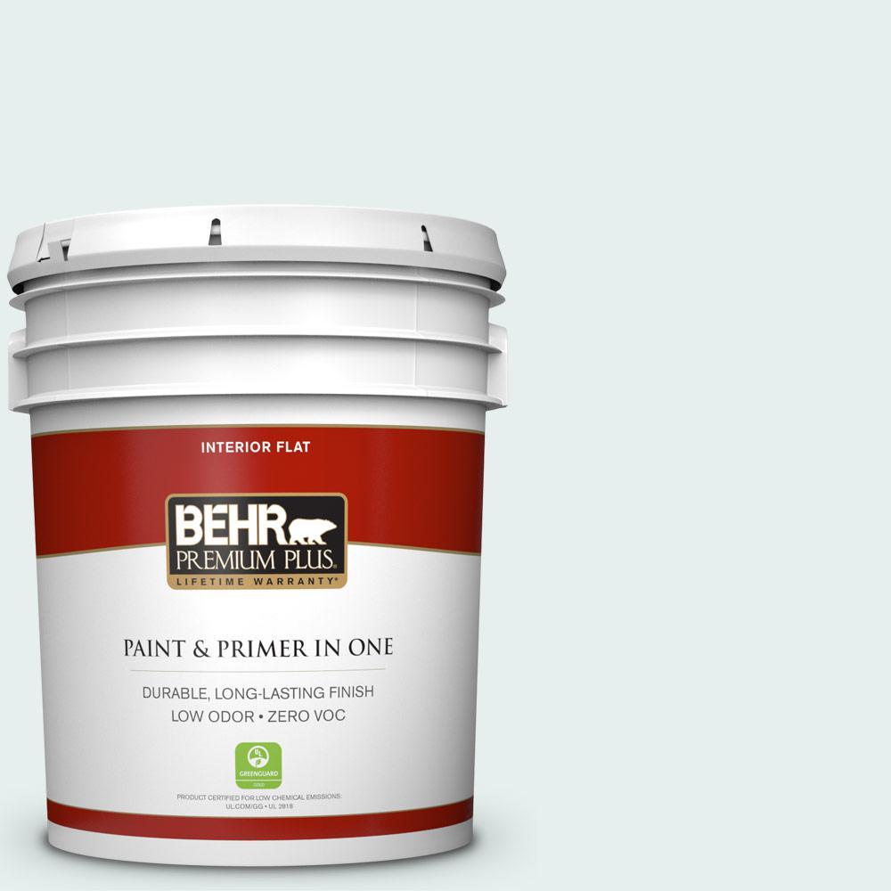 BEHR Premium Plus 5 gal. #730E-1 Polar White Flat Zero VOC Interior Paint and Primer in One