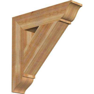 6 in. x 28 in. x 28 in. Western Red Cedar Traditional Rough Sawn Bracket