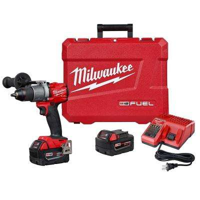 M18 FUEL 18-Volt Lithium-Ion Brushless Cordless 1/2 in  Drill / Driver Kit  W/(2) 5 0Ah Batteries, Charger, and Hard Case