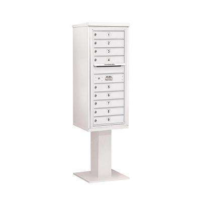 3400 Series White Mount 4C Pedestal Mailbox with 9 MB1 Doors