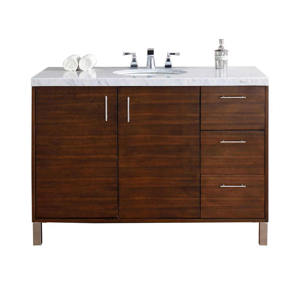Awesome James Martin Signature Vanities Metropolitan 48 In. W Single Vanity In  American Walnut With Marble Vanity Top In Carrara White With White ...
