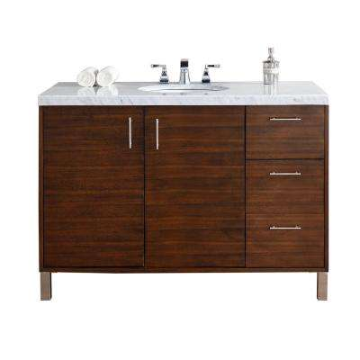 Metropolitan 48 in. W Single Vanity in American Walnut with Marble Vanity Top in Carrara White with White Basin