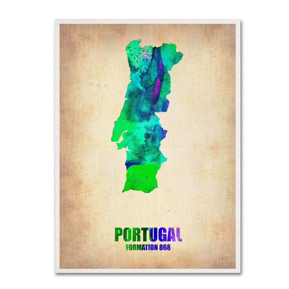 19 in. x 14 in. Portugal Watercolor Map Canvas Art