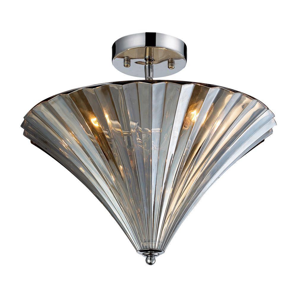 Titan Lighting Crystal Flushmounts 3-Light Polished Chrome Ceiling Flush Mount