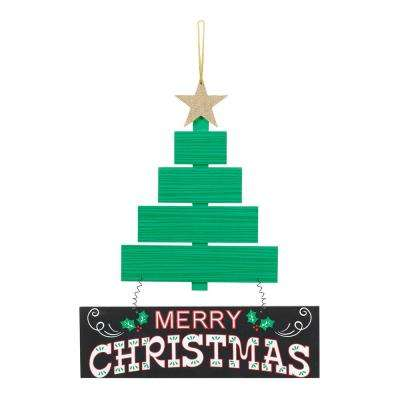 13.5 in. x 11.5 in. Christmas Tree MDF Sign (2-Pack)