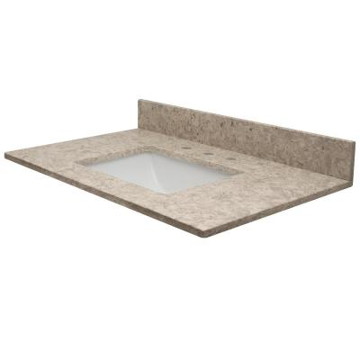 61 in. W x 22.5 in. D Quartz Vanity Top in Apollo with Rect White Basin