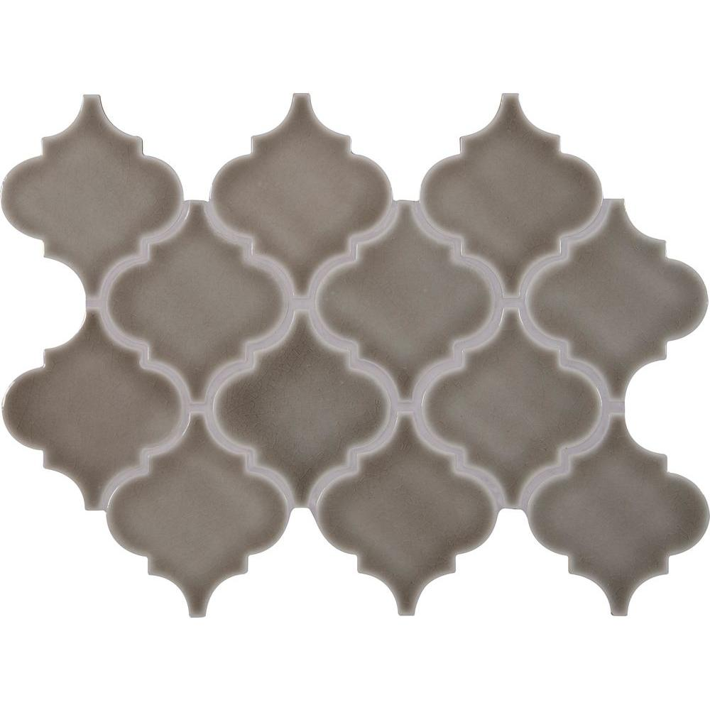Mosaic tile tile the home depot dove gray arabesque 10 12 in x 15 12 dailygadgetfo Choice Image