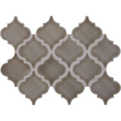 Dove Gray Arabesque 10-1/2 in. x 15-1/2 in. x 8 mm Glazed Ceramic Mesh-Mounted Mosaic Wall Tile (11.3 sq. ft. / case)