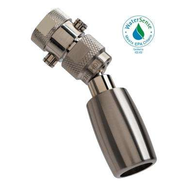 Classic Plus 1-Spray 1 in. 1.5 GPM Low Flow Fixed Shower Head with All Metal Construction and Valve in Brushed Nickel