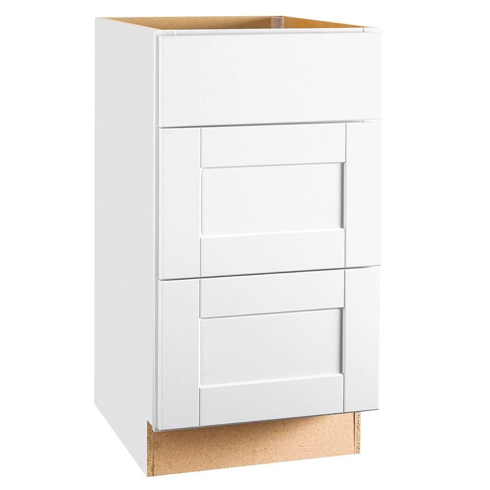 Hampton Bay Shaker Assembled 18x34.5x24 in. Drawer Base Kitchen Cabinet with Ball-Bearing Drawer Glides in Satin White