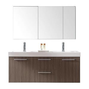 Virtu USA Midori 54 inch W x 19 inch D Vanity in Grey Oak with Poly-Marble Vanity Top in White with White Square Basin... by Virtu USA